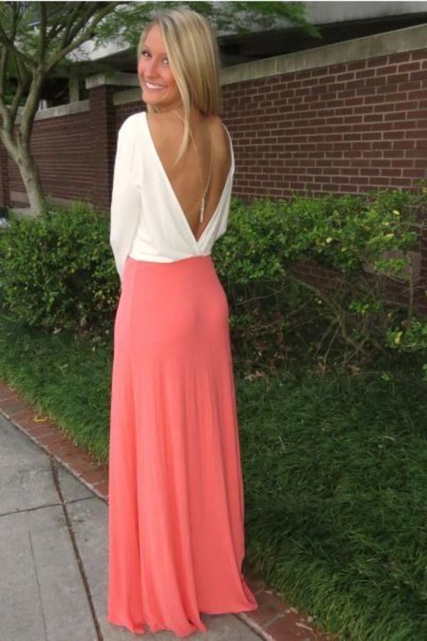 maxi maxi dress coral v neck dress