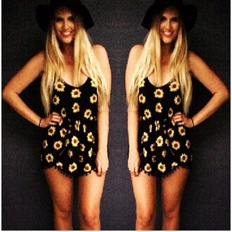 jumpsuit romper romper sunflower playsuit shorts women sunflower