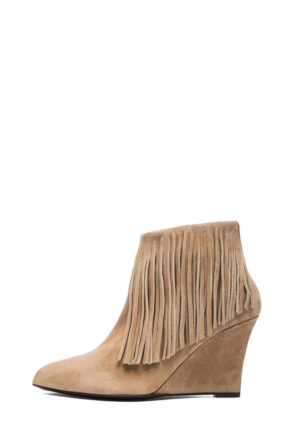 Elyse Walker Los Angeles|Suede Fringe Booties in Taupe