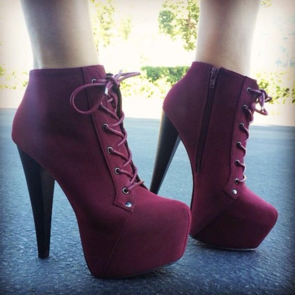 Shoes: platform lace up boots, heels, high heels, red, burgundy ...