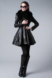 jacket,black,leather,fur collar
