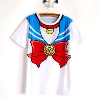 free shipping kawaii goth t-shirt anime sailor moon cosplay manga cheap ribbon ulzzang gyaru sailor moon