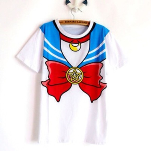 ribbon kawaii t-shirt anime sailor moon cosplay manga cheap free shipping ulzzang gyaru goth sailor moon
