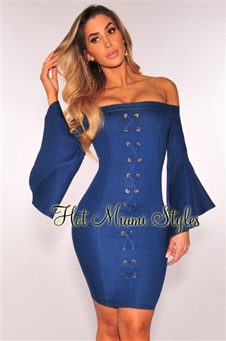 42a0449f71e8 Denim Lace Up Off Shoulder Bell Sleeves Dress