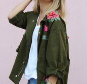 jacket,flowers,floral,green,embroidered,khaki,green jacket