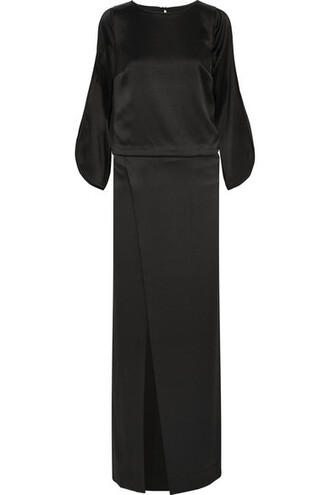 gown black satin dress