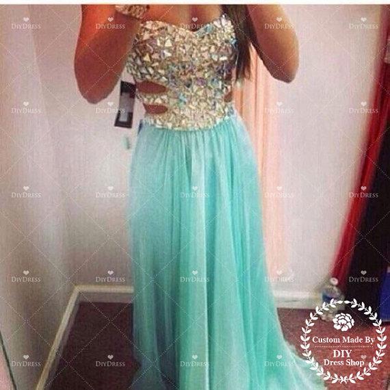 Sexy beaded bodice prom dress 2014chiffon skirt mint by diydress