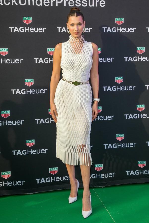 dress mesh mesh dress midi dress white white dress bella hadid pumps belt celebrity model off-duty