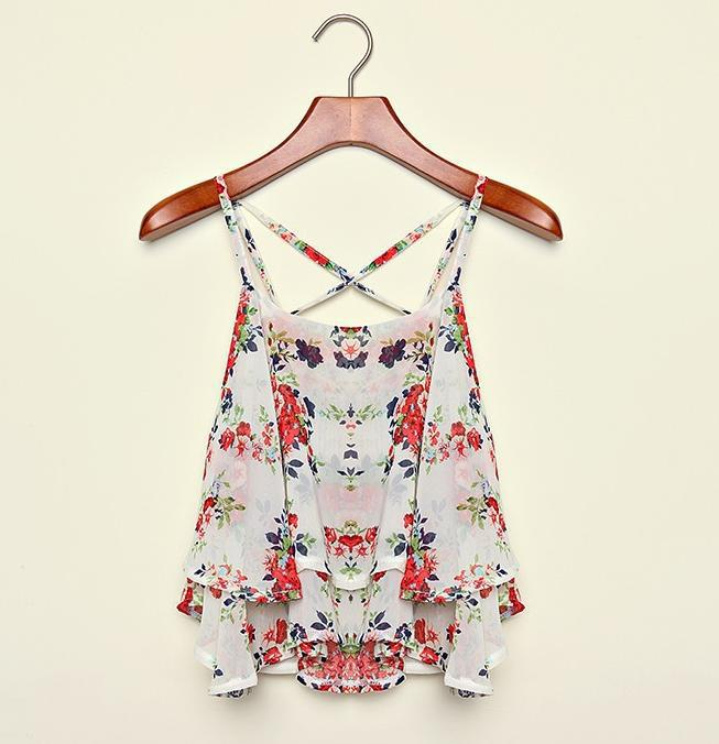 beceb9535427 Aliexpress.com : Buy 2015 New Spaghetti Strap Floral Print Chiffon Shirt  Vest Blouses Crop Top Women ...