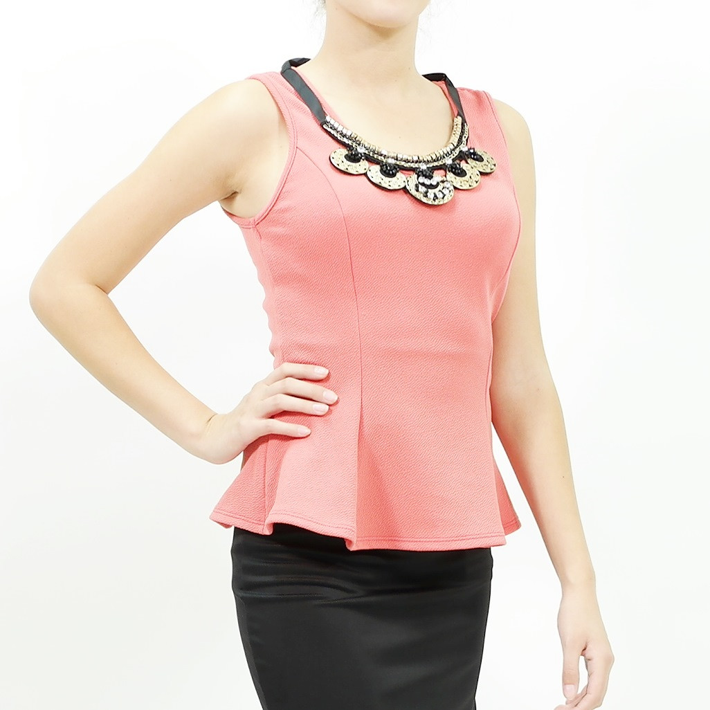 Over the top necklace peplum top coral color