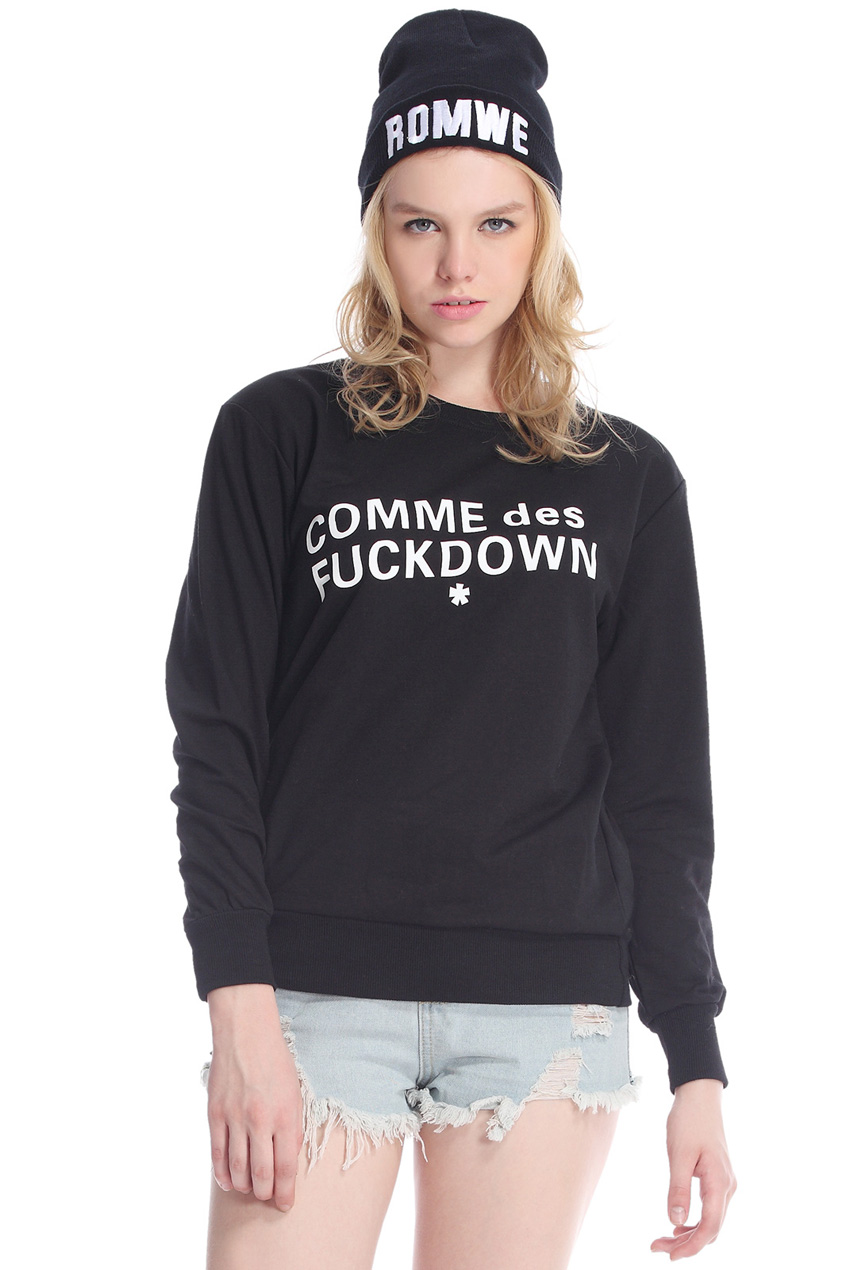 ROMWE | COMME des FUCKDOWN Print Black Loose Sweatshirt, The Latest Street Fashion