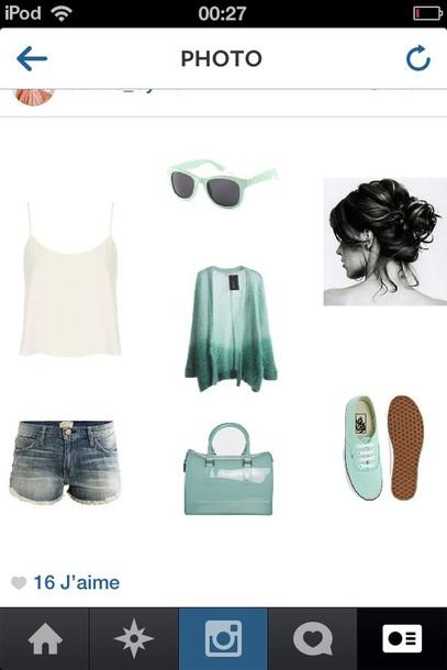 tank top shorts sunglasses sweater bag shoes