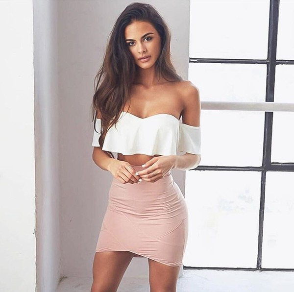 top skirt shirt sleveless top white classy sophiamiacova off the shoulder top dress pink light pink strapples bluss lettered shoulders plaid skirt fashion girl girly girly wishlist cute crop crop tops cropped style off the shoulder sophia miacova