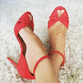shoes chaussures à talons escarpins feminine red red shoes high heels heels open toes peep toe heels chic elegant ankle strap heels revolve clothing