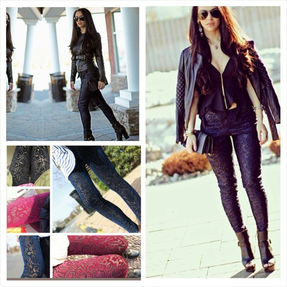 leggings black fashion jeans blue navy blue darkblue red wine lace shoes