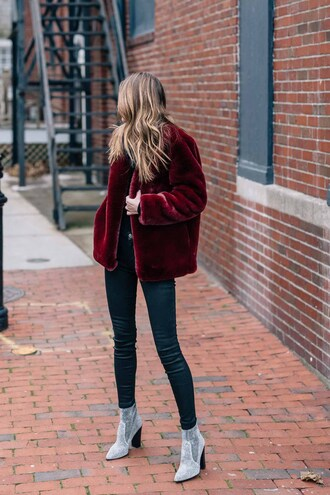 jacket tumblr burgundy red jacket fur jacket faux fur jacket denim jeans skinny jeans boots silver boots