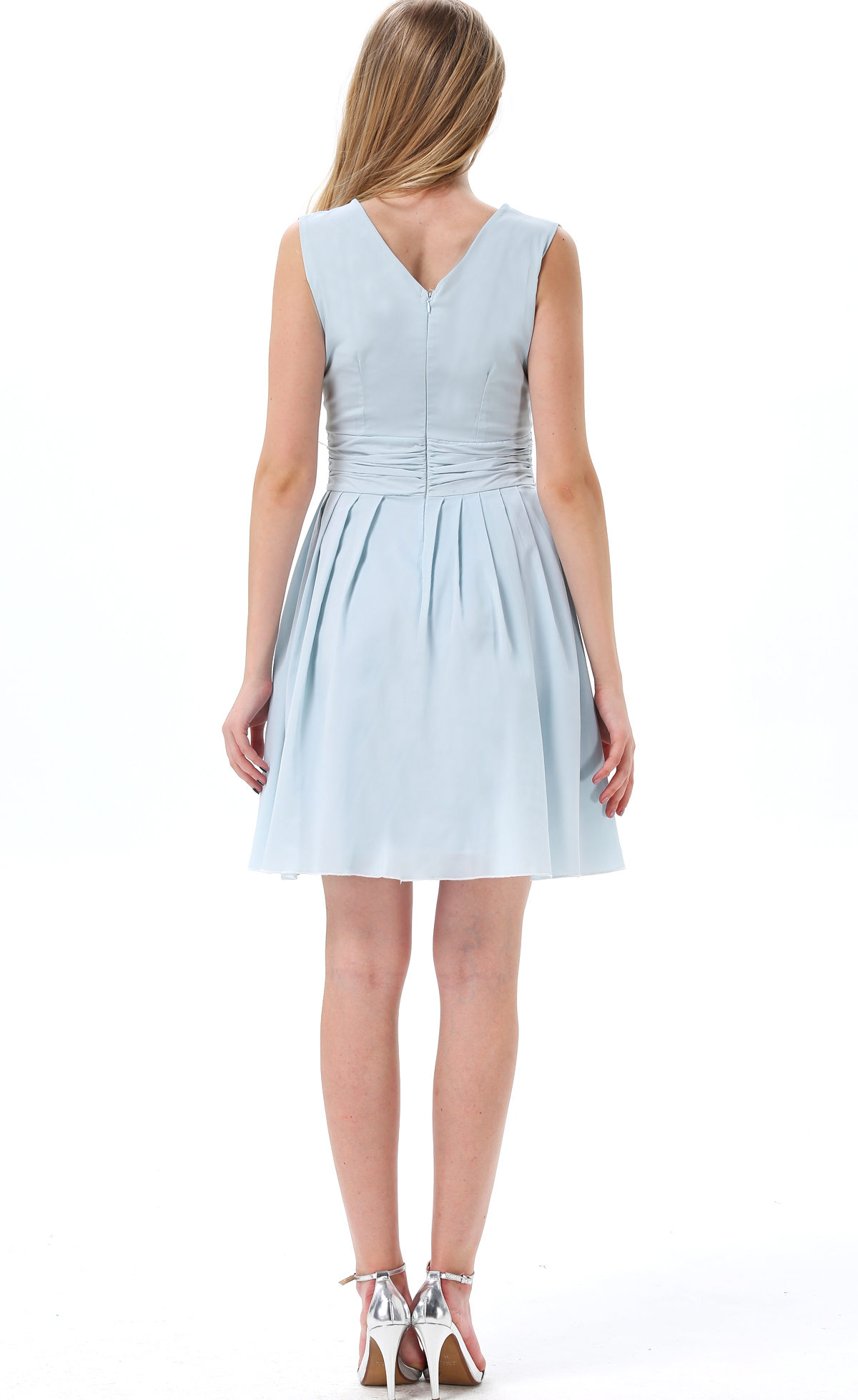 Blue Sleeveless Chiffon Ruffle Dress - Sheinside.com