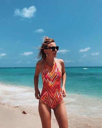 swimwear tumblr sunglasses black sunglasses one piece swimsuit printed swimwear halter neck halter neck swimsuit
