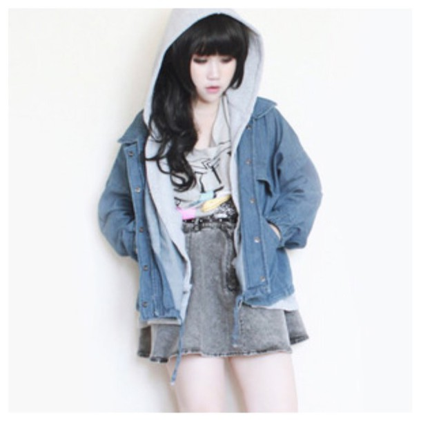9f761e0ead jacket cute denim jacket hoodie coat fall outfits fashion cardigan winter  outfits kawaii girly streetwear style