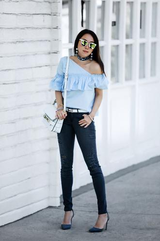 fit fab fun mom blogger top jeans shoes bag belt sunglasses jewels