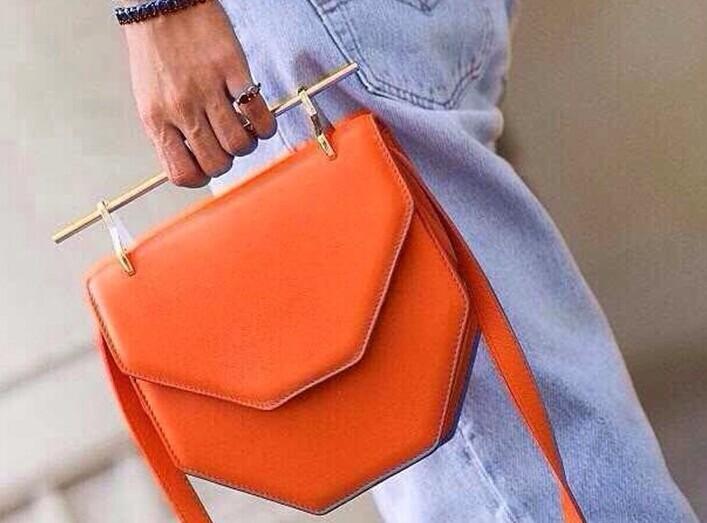 M2malletier amor fati leather shoulder bag orange