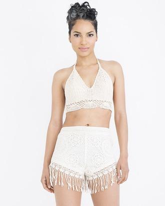 shorts fringe fringe shorts crochet crochet shorts crochet top outfit outfit set