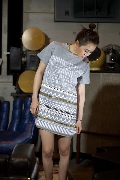dress tribal pattern tshirt dress grey dress