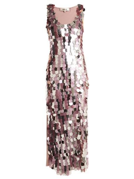 Diane Von Furstenberg dress silk dress sleeveless embellished silk silver