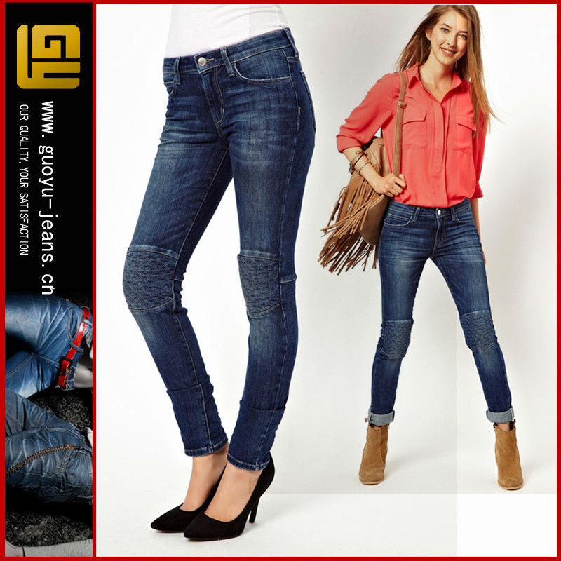 High Waisted Skinny Jeans With Quilted Knee Women Jeans Urban Star ...