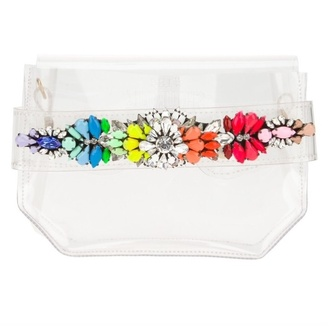 bag rainbow clutch plastic transparent embroidered girly wishlist