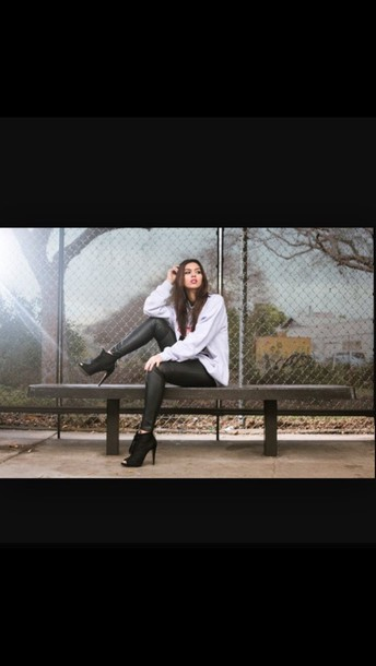 leather pants peep toe boots grey sweater jeans shoes