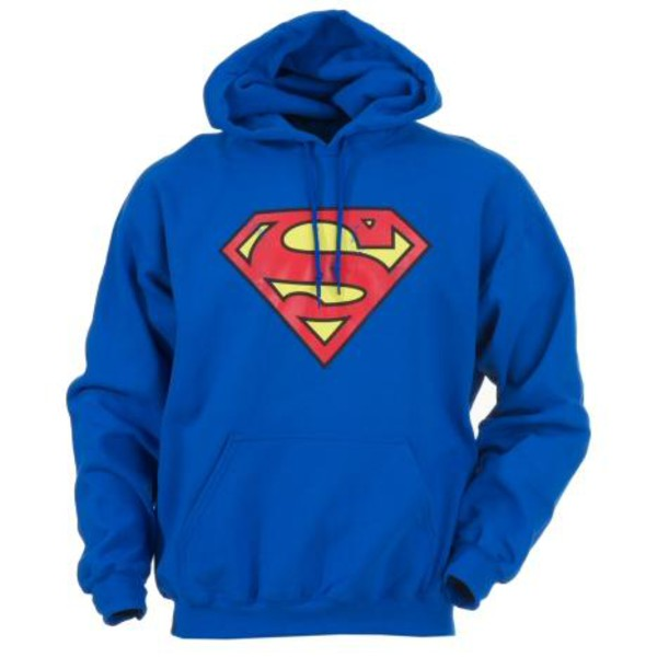 jacket hoodie superman blue red yellow sweater