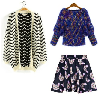 sweater stripes skirt cats cute black and white knitwear