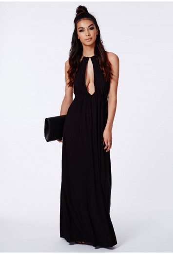 Missguided - Kitara Black Halterneck Keyhole Maxi Dress