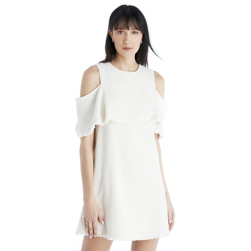 J.O.A. J.O.A. Open Shoulder Mini Dress  - Off White-Small