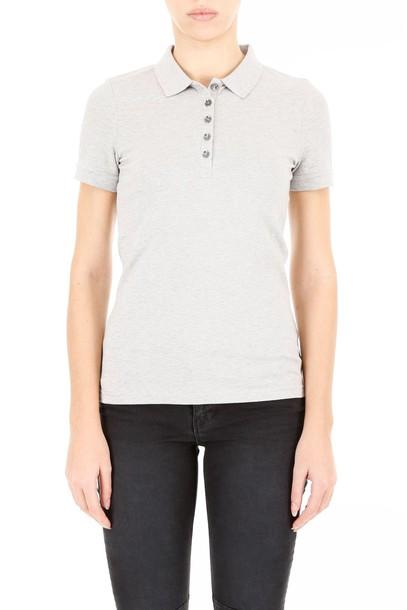 Burberry shirt polo shirt cotton pale grey top