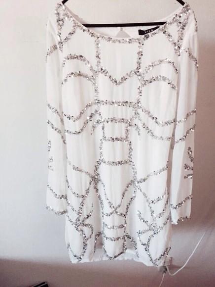 glitter glitter dress white dress white beautiful dress style