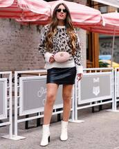 sweater,tumblr,leopard print,skirt,mini skirt,leather skirt,boots,ankle boots,white boots,belt bag,bag,gucci,sunglasses