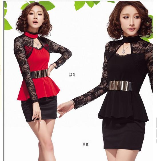 Elegant Lotus Leaf Lace Long Sleeve Hollow Dress (With Belt )Black (US$ 15.93 / US$ 18.21)