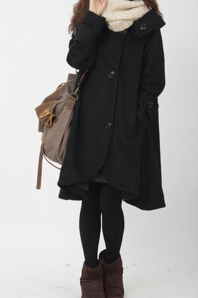 coat black cloak wool coat