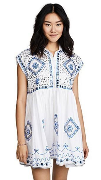 Juliet Dunn dress shirt dress embroidered white blue