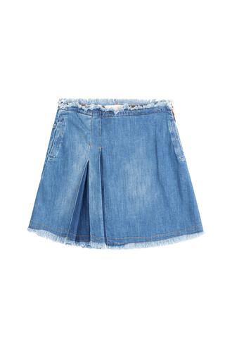 skirt jean skirt pleated blue