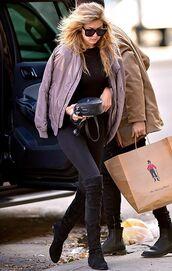 jacket,bomber jacket,sunglasses,black sunglasses,bag,leggings,black leggings,boots,over the knee boots,black boots,black bag,black top,gigi hadid,gigi hadid style,streetstyle,celebrity