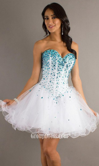 tutu sequins strapless corset dress white blue rubs