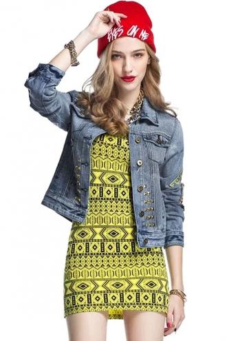 jacket cute top blue denim jacket rivet long  sleeves
