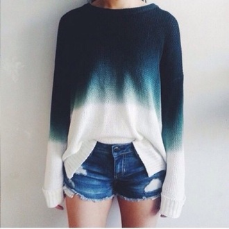 sweater ombre sweater blue sweater white sweater