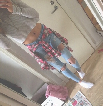 jeans jacket shirt blouse flannel shirt flannel distressed jeans style cool grunge