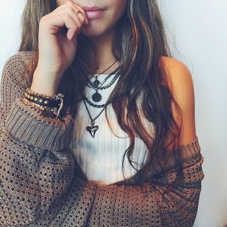 sweater shirt necklace indie hipster hippie fall spring weheartit boho blouse jewels shark tooth necklace