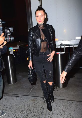 top see through boots over the knee boots bella hadid model off-duty all black everything fall outfits choker necklace jeans jacket