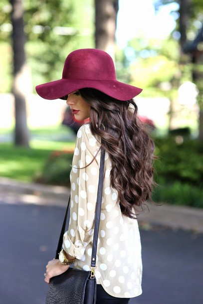 hat burgundy floppy polka polka dots polka dots blouse top shirt white tan